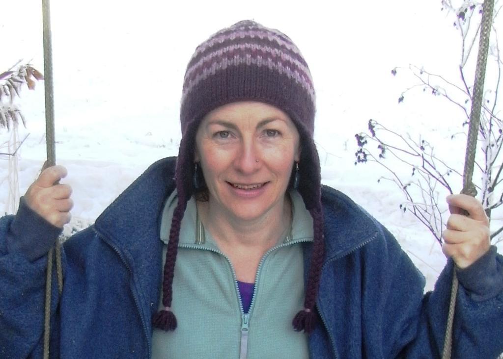 Anna McArthur, in garden